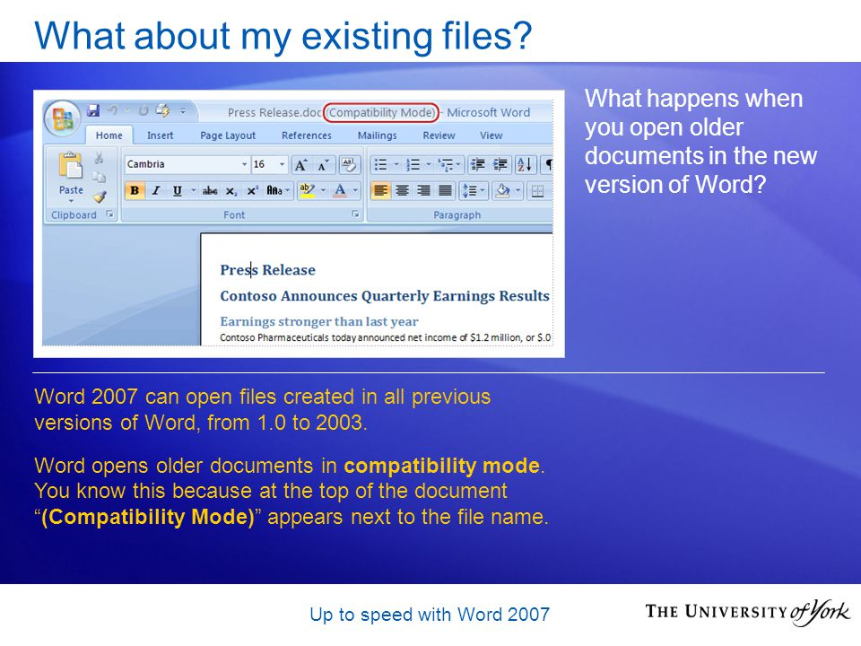 Up to speed with Word 2007 What about my existing files.
