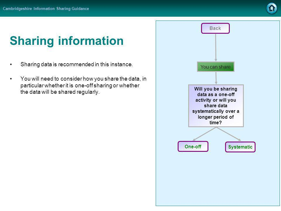 Cambridgeshire Information Sharing Guidance Sharing information Sharing data is recommended in this instance. You will need to consider how you share