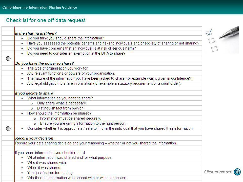 Cambridgeshire Information Sharing Guidance Checklist for one off data request Click to return: