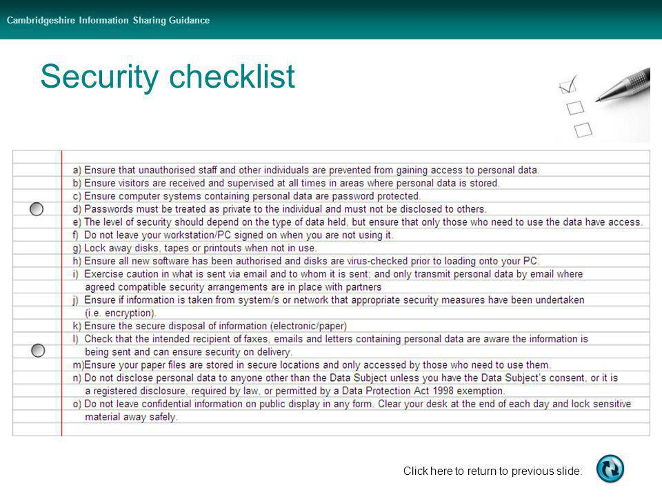 Cambridgeshire Information Sharing Guidance Click here to return to previous slide: Security checklist