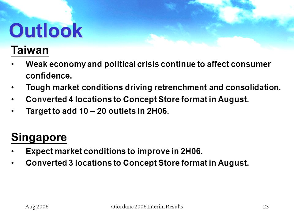 Aug 2006Giordano 2006 Interim Results23 Taiwan Weak economy and political crisis continue to affect consumer confidence.