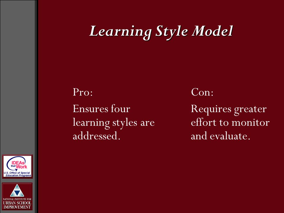 Pro: Ensures four learning styles are addressed.