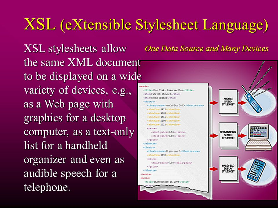 XSL (eXtensible Stylesheet Language) XSL stylesheets allow the same XML document to be displayed on a wide variety of devices, e.g., as a Web page with graphics for a desktop computer, as a text-only list for a handheld organizer and even as audible speech for a telephone.