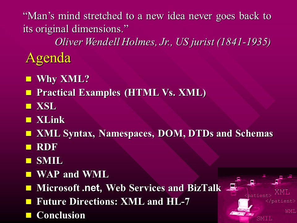 Agenda Why XML. Why XML. Practical Examples (HTML Vs.
