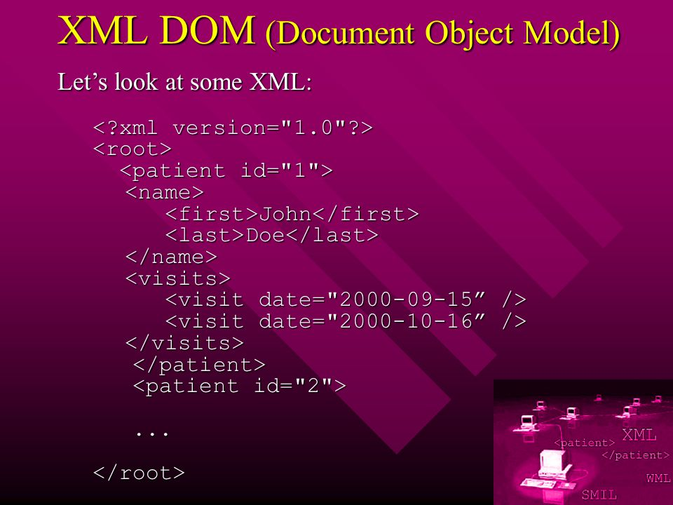 XML DOM (Document Object Model) Lets look at some XML: <root> <name> John John Doe Doe </name><visits> </visits>......</root>