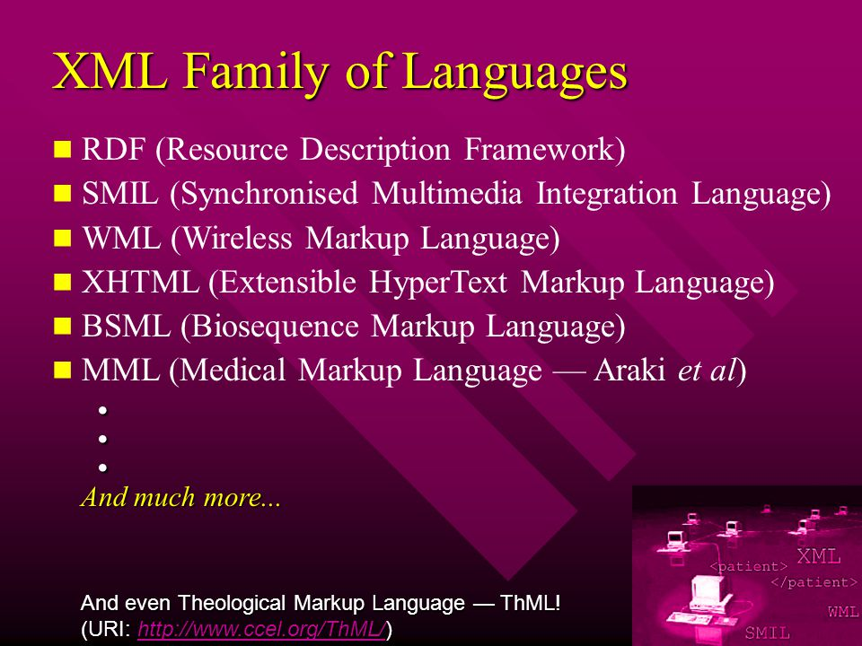 XML Family of Languages RDF (Resource Description Framework) SMIL (Synchronised Multimedia Integration Language) WML (Wireless Markup Language) XHTML (Extensible HyperText Markup Language) BSML (Biosequence Markup Language) MML (Medical Markup Language Araki et al)...