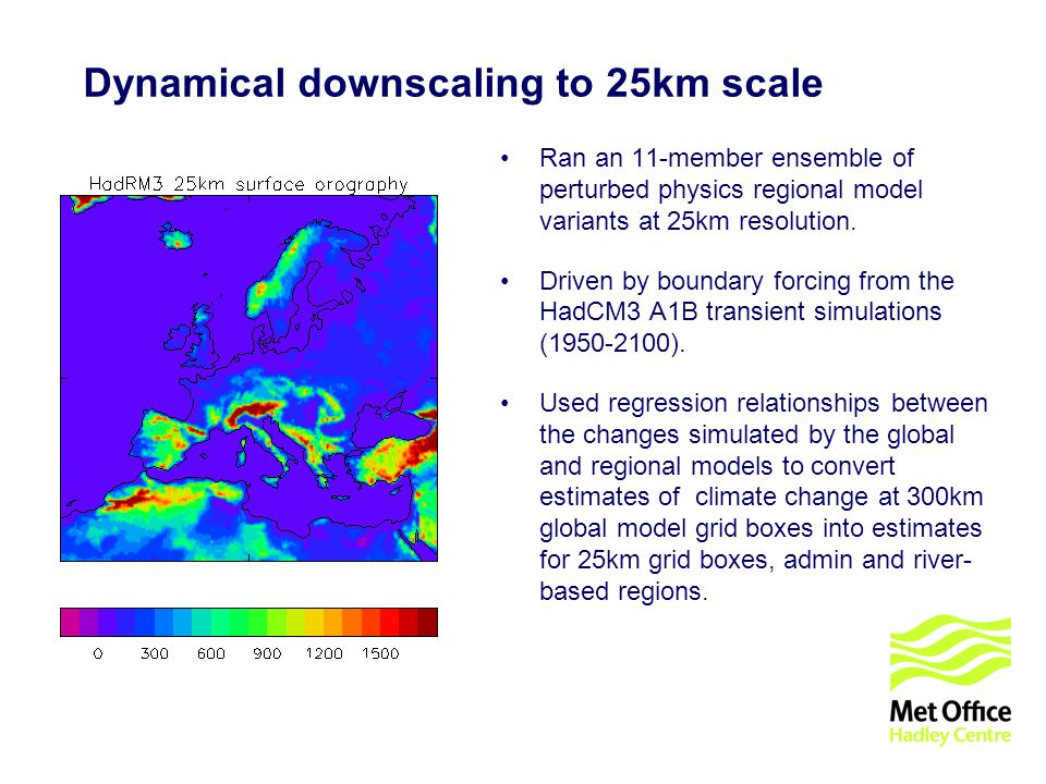 © UKCIP 2006 Dynamical downscaling to 25km scale Ran an 11-member ensemble of perturbed physics regional model variants at 25km resolution. Driven by