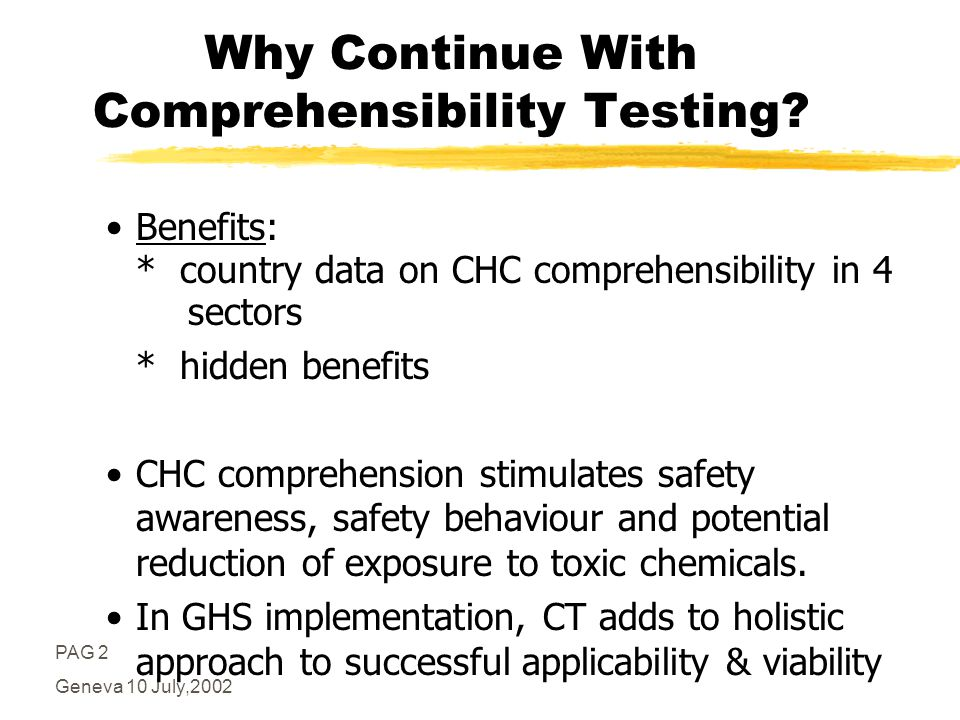PAG 2 Geneva 10 July,2002 Why Continue With Comprehensibility Testing.