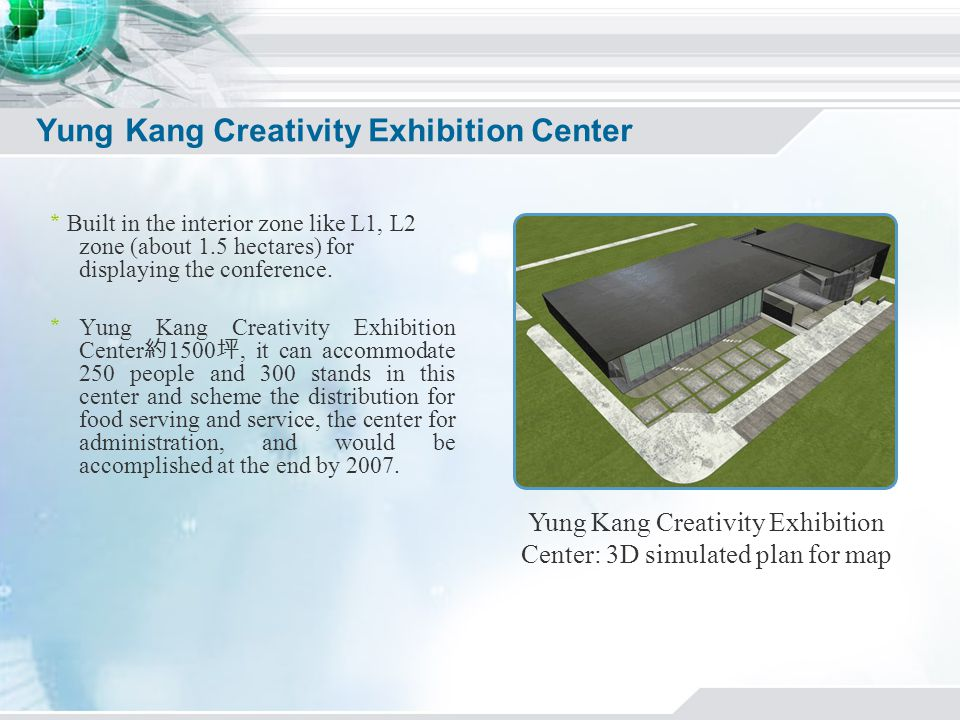 Yung Kang Creativity Exhibition Center Built in the interior zone like L1, L2 zone (about 1.5 hectares) for displaying the conference.