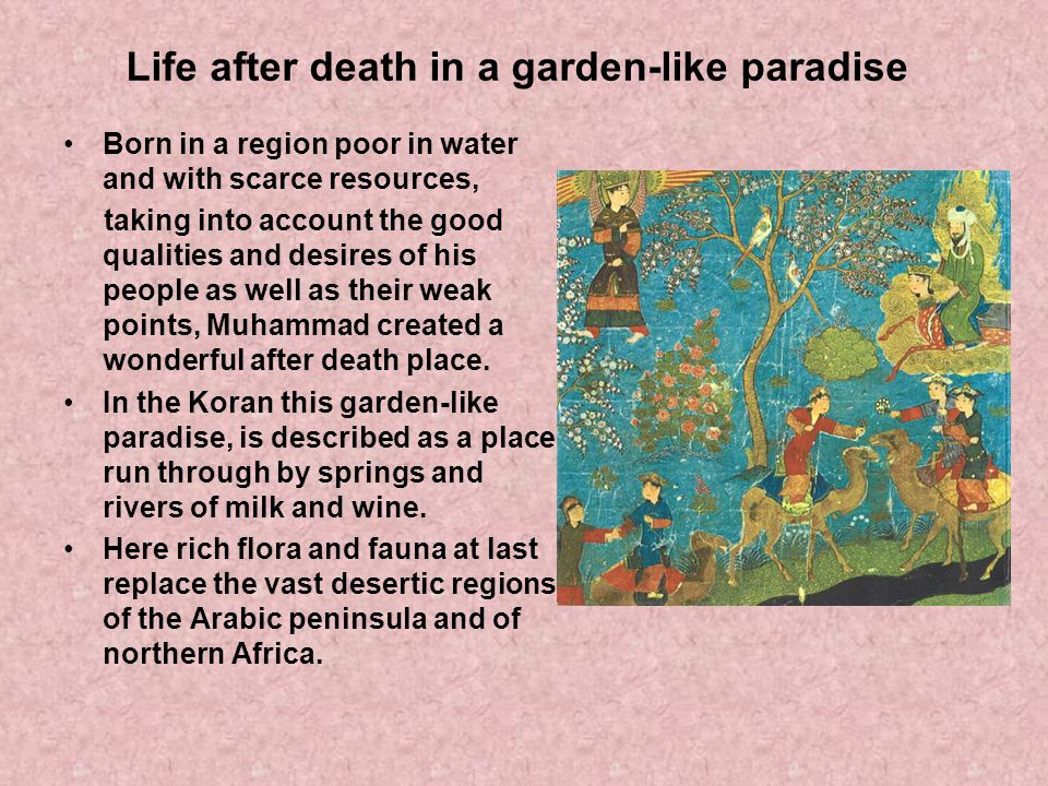 Life after death in a garden-like paradise Born in a region poor in water and with scarce resources, taking into account the good qualities and desire