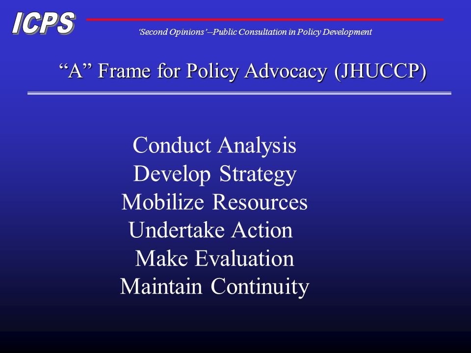 Second Opinions--Public Consultation in Policy Development A Frame for Policy Advocacy (JHUCCP) Conduct Analysis Develop Strategy Mobilize Resources Undertake Action Make Evaluation Maintain Continuity