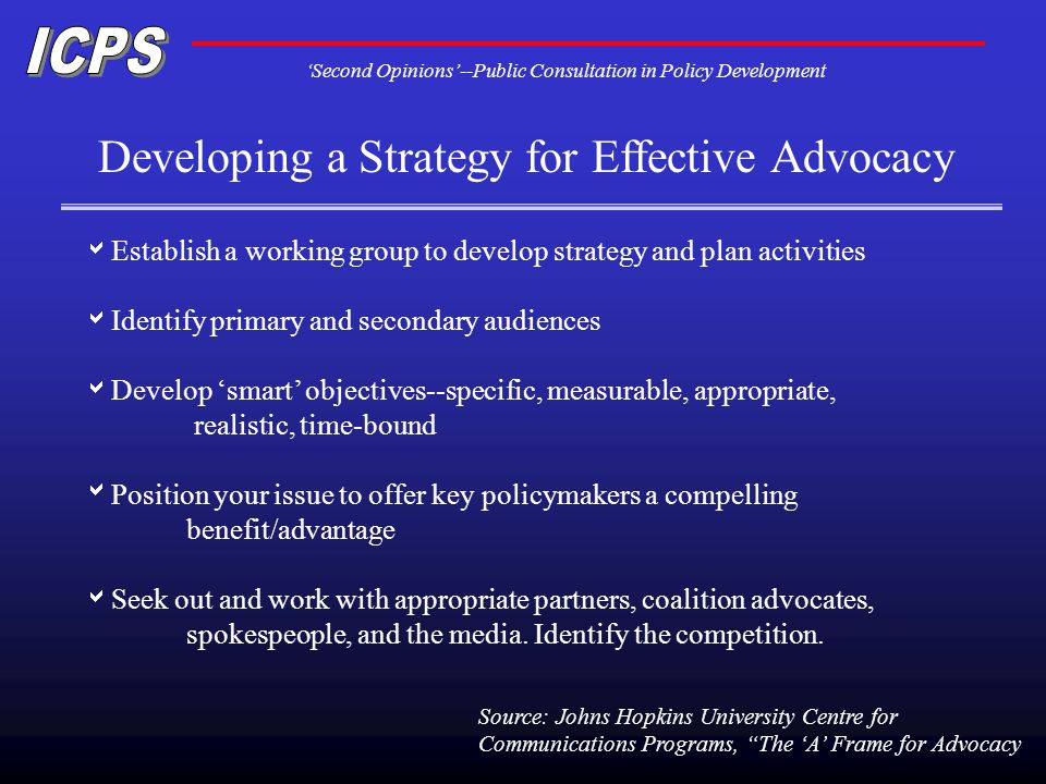 Second Opinions--Public Consultation in Policy Development Developing a Strategy for Effective Advocacy Establish a working group to develop strategy