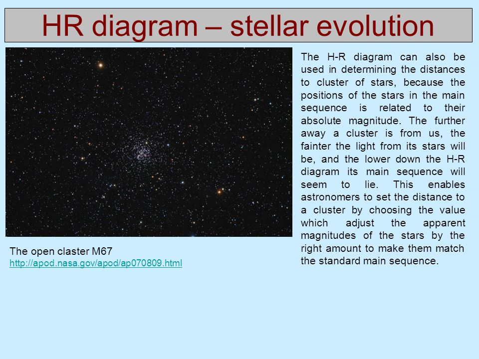 HR diagram – stellar evolution The H-R diagram can also be used in determining the distances to cluster of stars, because the positions of the stars i