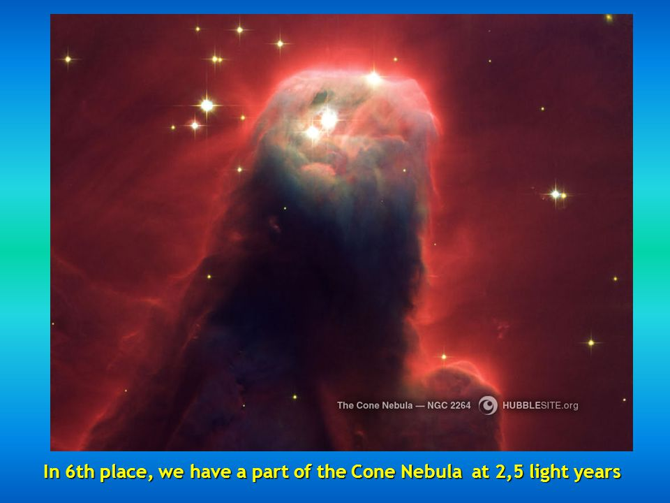 Fifth place the Hour Glass Nebula located 8000 light years the result of an exploding star.