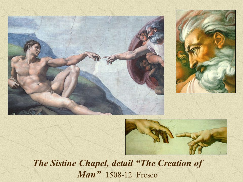 The Sistine Chapel, detail The Creation of Man Fresco