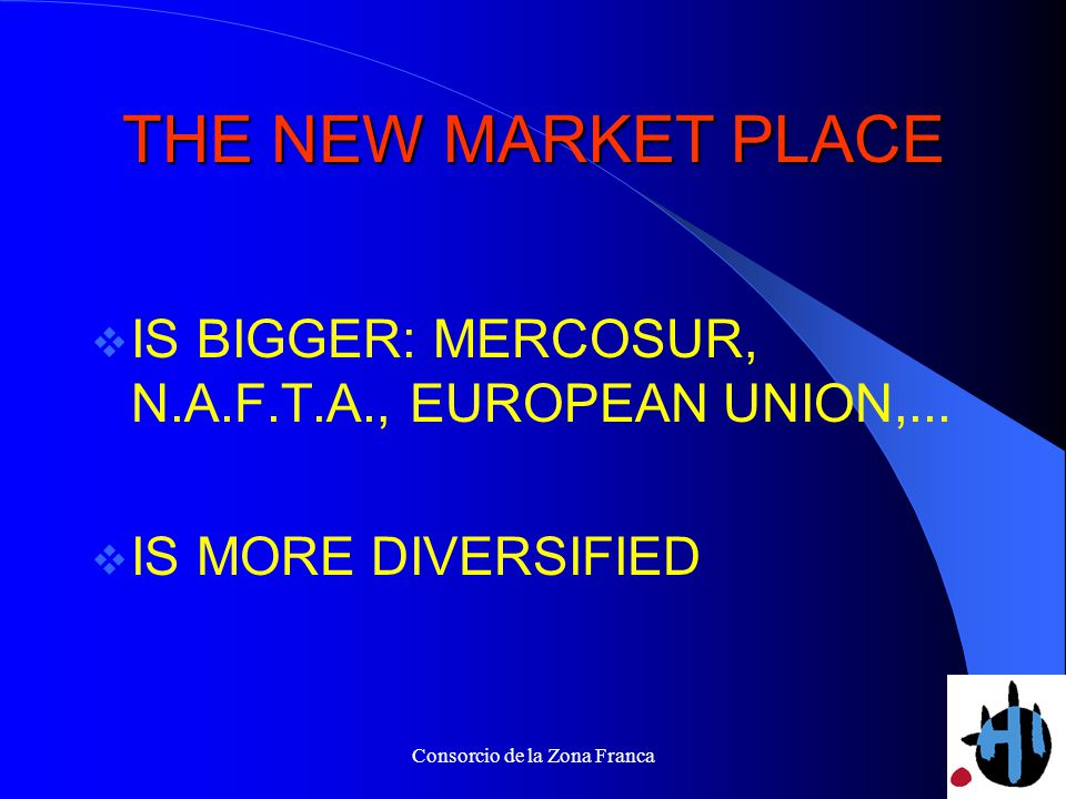 Consorcio de la Zona Franca THE NEW MARKET PLACE IS BIGGER: MERCOSUR, N.A.F.T.A., EUROPEAN UNION,...