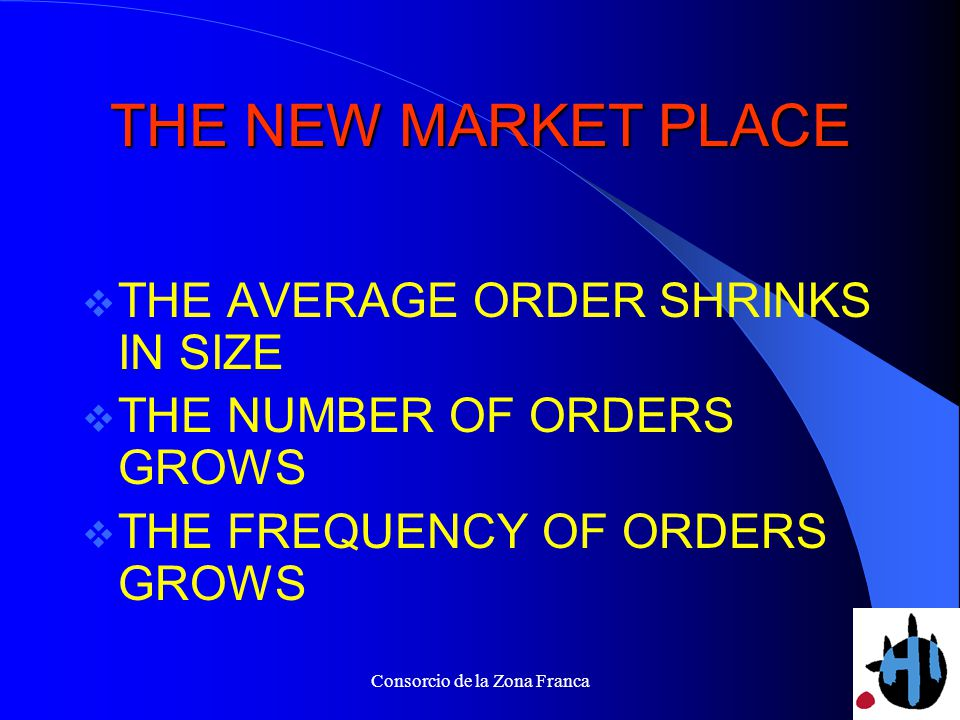 Consorcio de la Zona Franca THE NEW MARKET PLACE THE AVERAGE ORDER SHRINKS IN SIZE THE NUMBER OF ORDERS GROWS THE FREQUENCY OF ORDERS GROWS