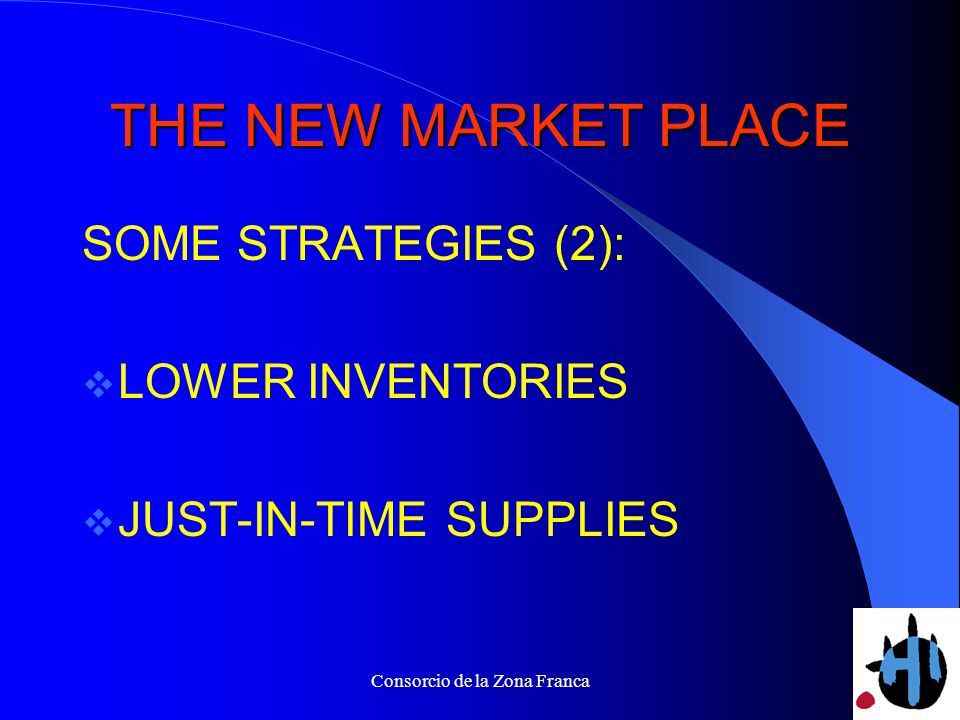 Consorcio de la Zona Franca THE NEW MARKET PLACE SOME STRATEGIES (2): LOWER INVENTORIES JUST-IN-TIME SUPPLIES