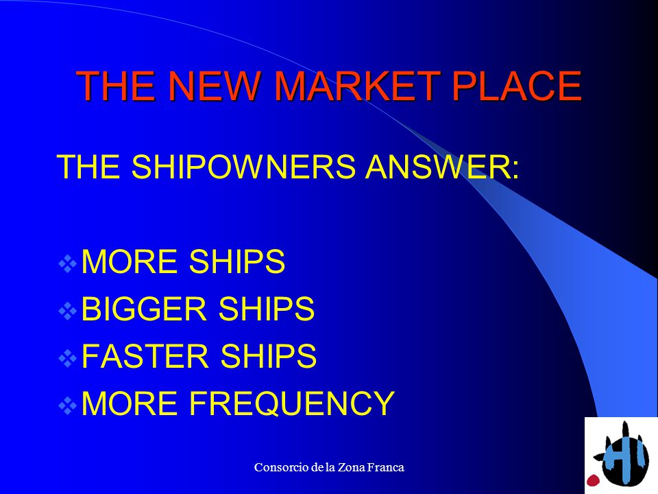 Consorcio de la Zona Franca THE NEW MARKET PLACE THE SHIPOWNERS ANSWER: MORE SHIPS BIGGER SHIPS FASTER SHIPS MORE FREQUENCY