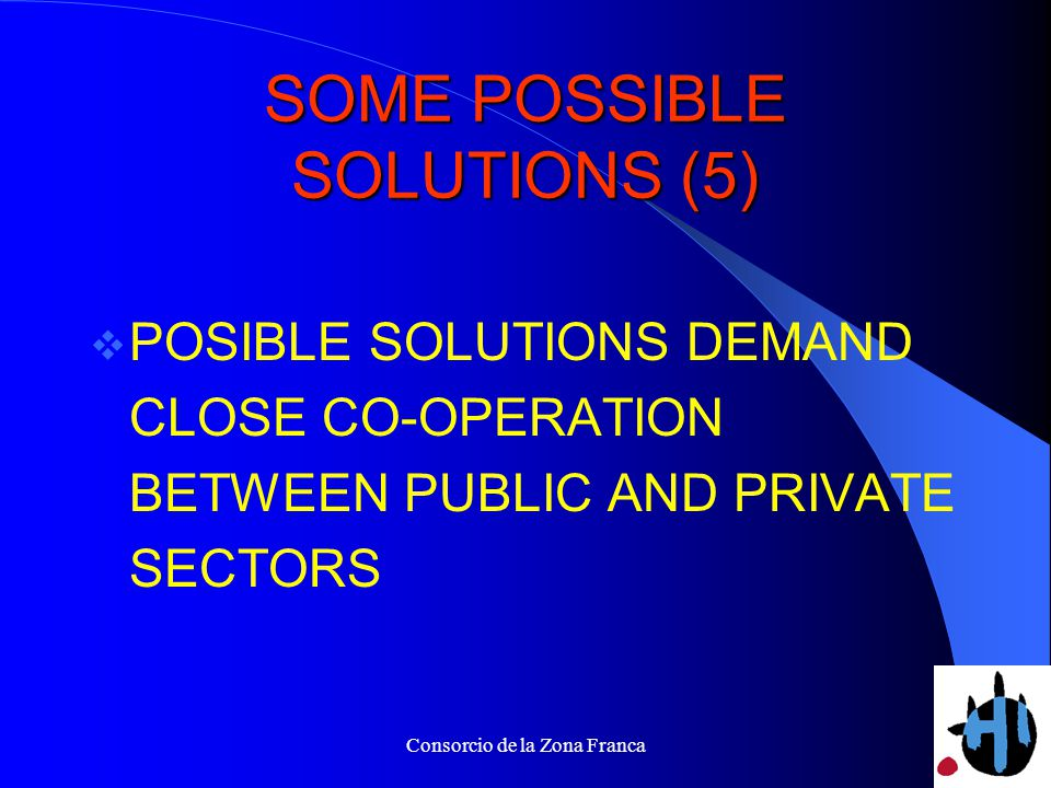 Consorcio de la Zona Franca SOME POSSIBLE SOLUTIONS (5) POSIBLE SOLUTIONS DEMAND CLOSE CO-OPERATION BETWEEN PUBLIC AND PRIVATE SECTORS
