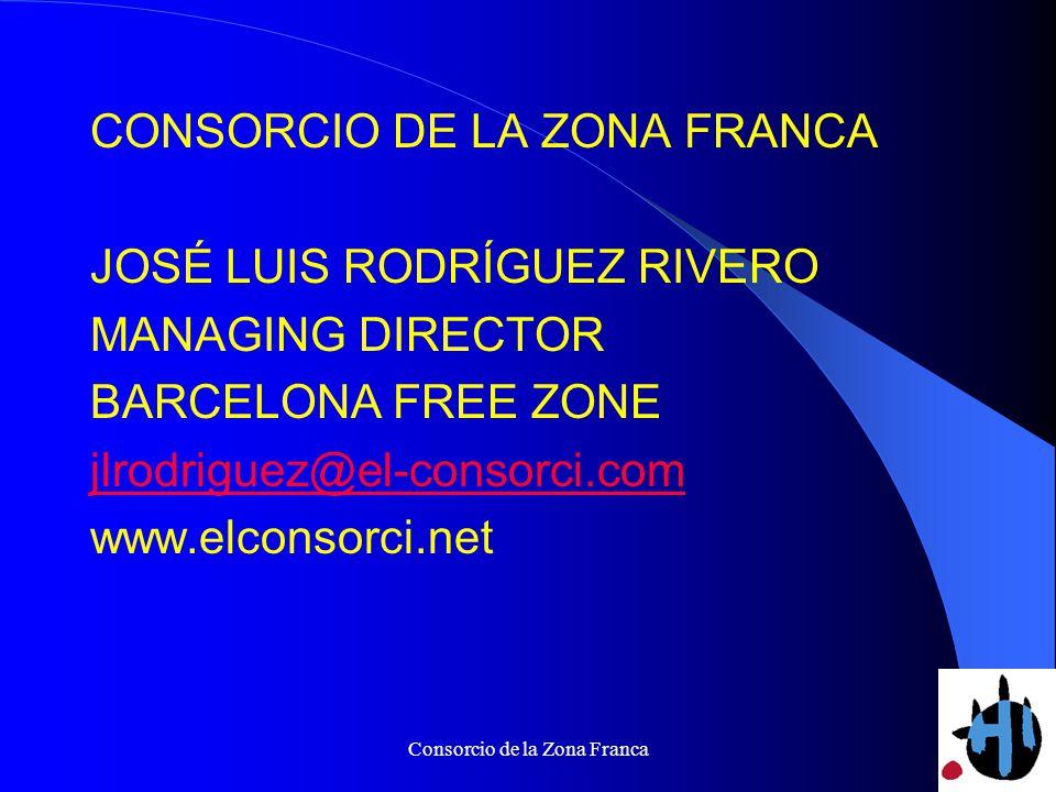 Consorcio de la Zona Franca CONSORCIO DE LA ZONA FRANCA JOSÉ LUIS RODRÍGUEZ RIVERO MANAGING DIRECTOR BARCELONA FREE ZONE jlrodriguez@el-consorci.com www.elconsorci.net