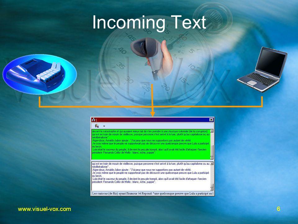 6www.visuel-vox.com Incoming Text