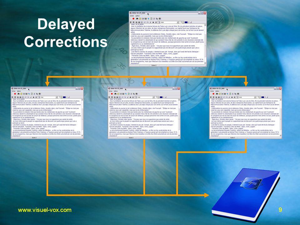 9www.visuel-vox.com Delayed Corrections