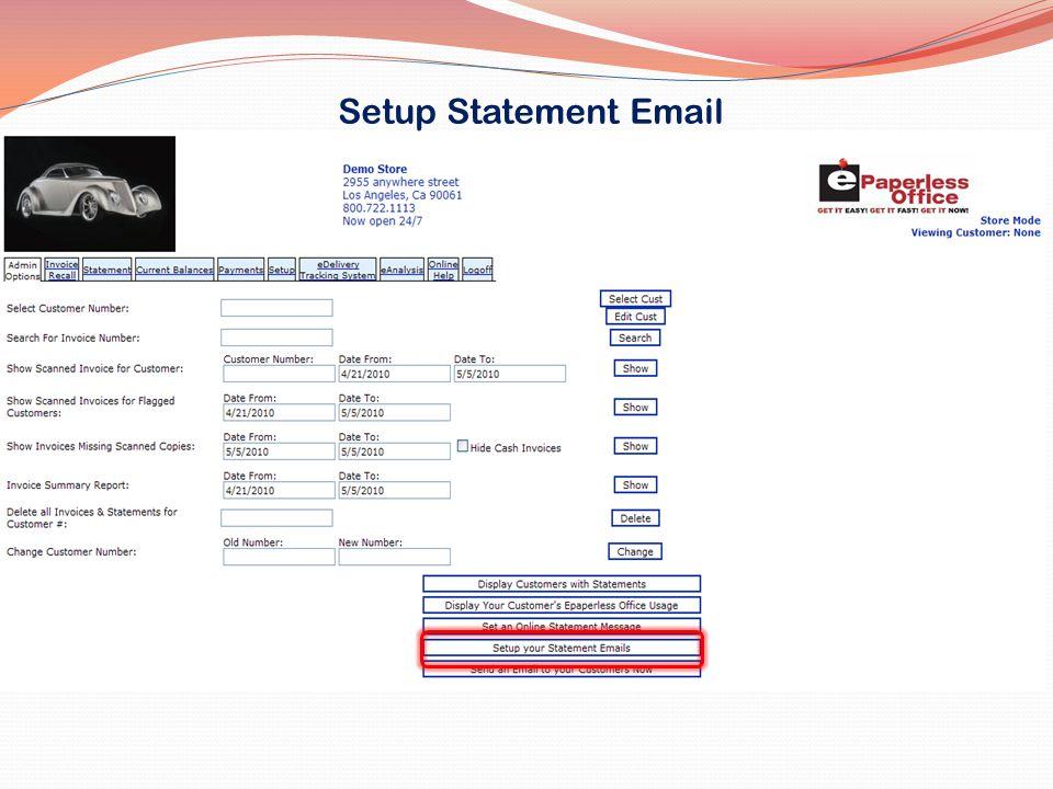Setup Statement Email
