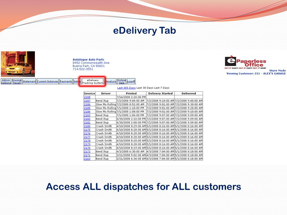 eDelivery Tab Access ALL dispatches for ALL customers