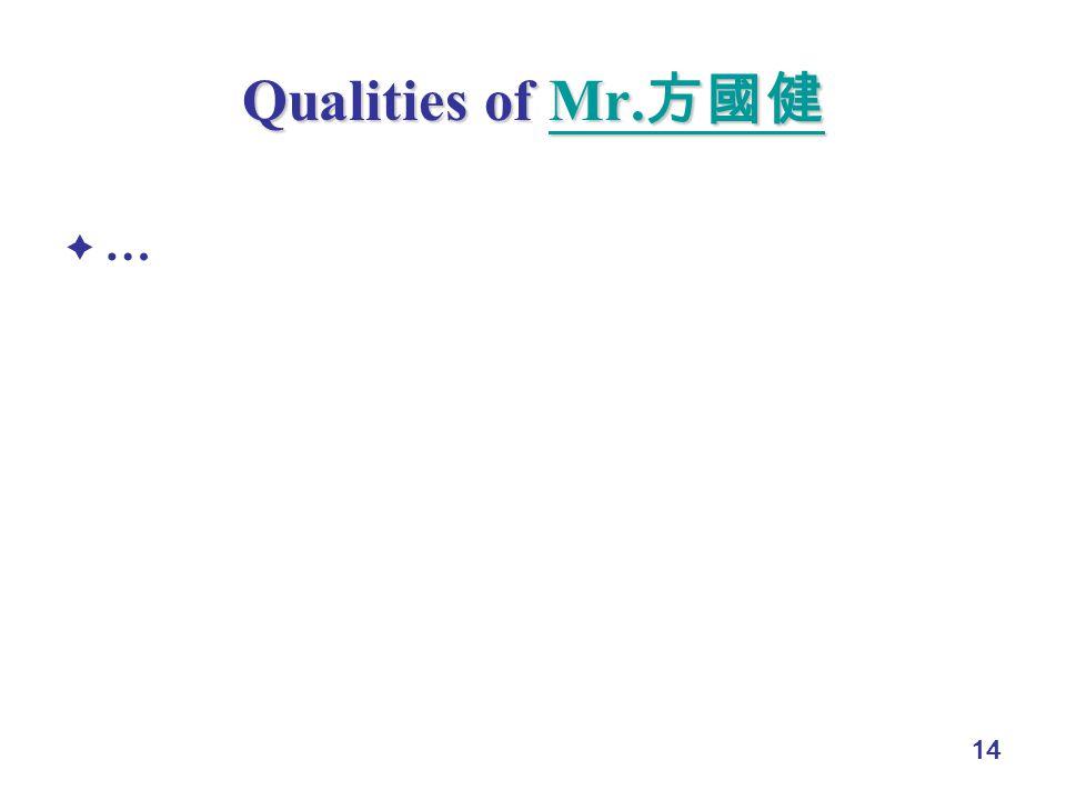 14 Qualities of Mr. Qualities of Mr. Mr. Mr. …
