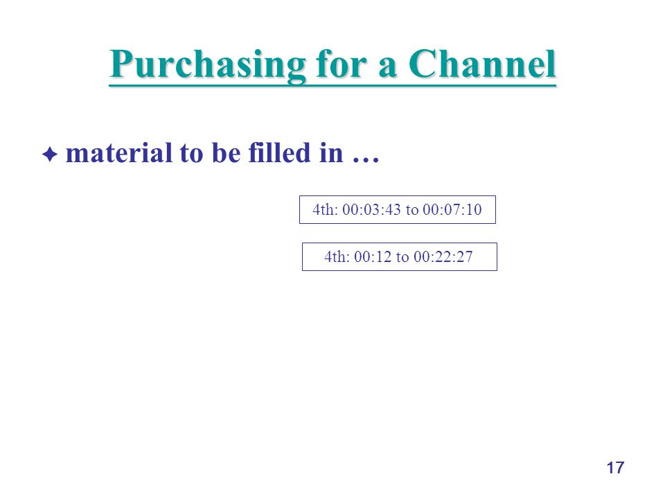 17 Purchasing for a Channel Purchasing for a Channel material to be filled in … 4th: 00:03:43 to 00:07:10 4th: 00:12 to 00:22:27