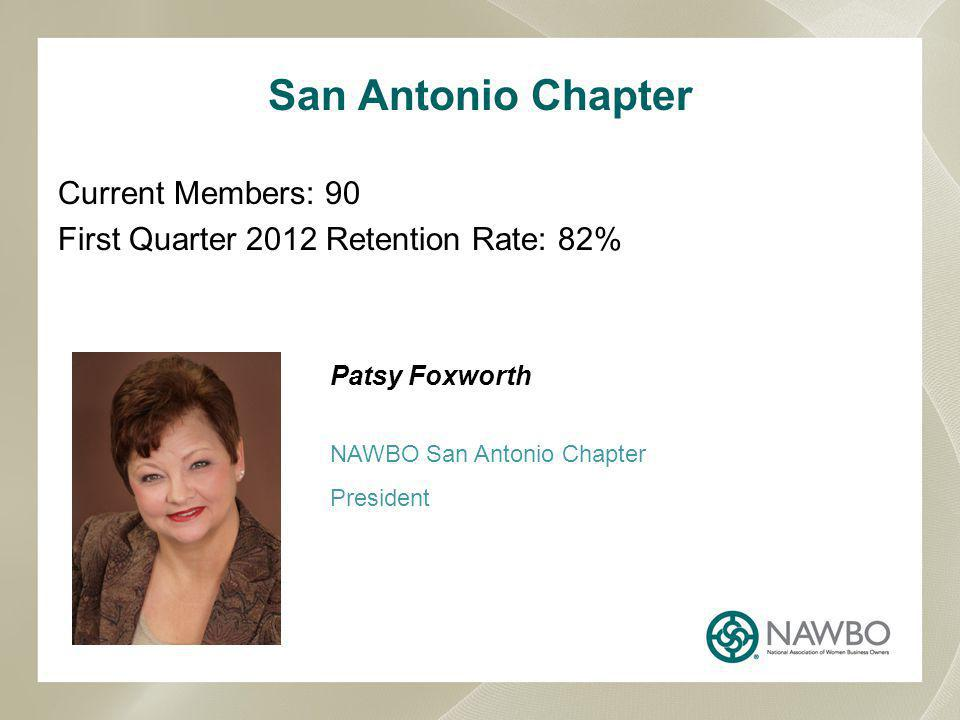 Current Members: 90 First Quarter 2012 Retention Rate: 82% Patsy Foxworth NAWBO San Antonio Chapter President San Antonio Chapter