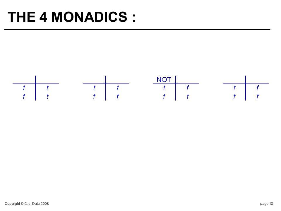 Copyright © C. J. Date 2008page 18 THE 4 MONADICS :