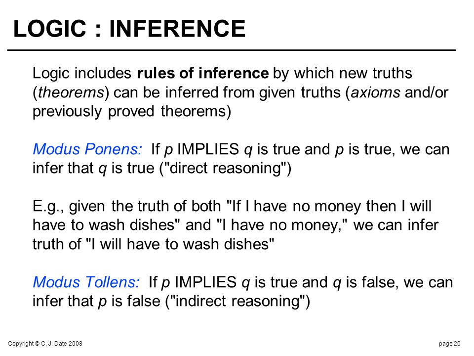 Copyright © C. J. Date 2008page 26 LOGIC : INFERENCE Logic includes rules of inference by which new truths (theorems) can be inferred from given truth