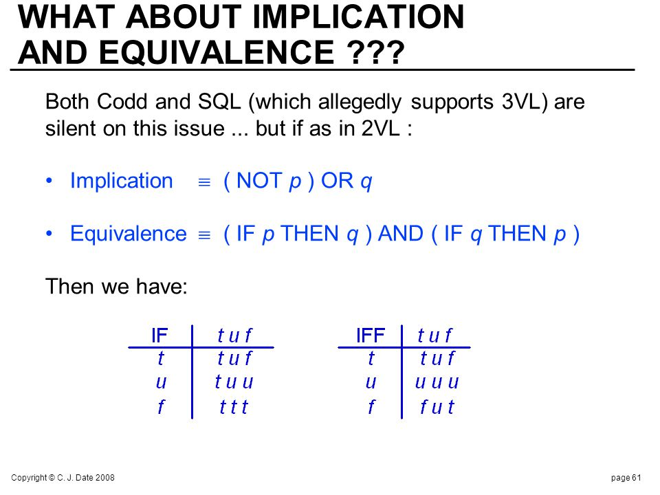 Copyright © C. J. Date 2008page 61 WHAT ABOUT IMPLICATION AND EQUIVALENCE ??? Both Codd and SQL (which allegedly supports 3VL) are silent on this issu