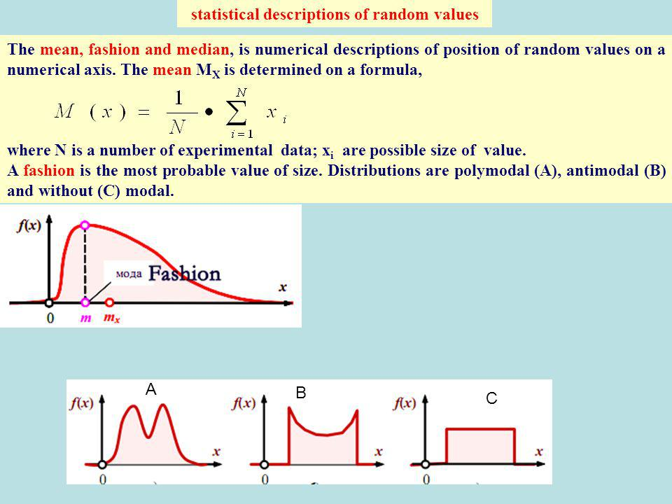 statistical descriptions of random values The mean, fashion and median, is numerical descriptions of position of random values on a numerical axis. Th