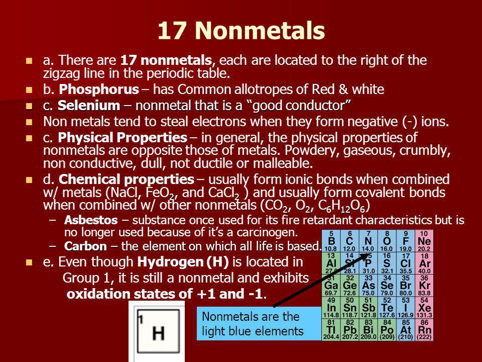 17 Nonmetals a.