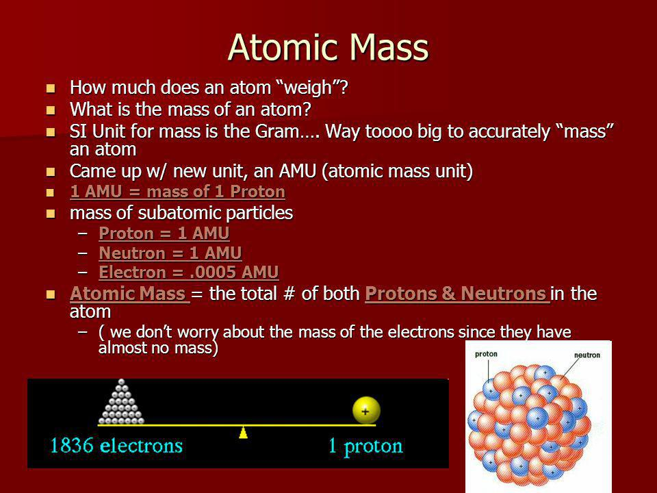 Atomic Mass How much does an atom weigh.How much does an atom weigh.