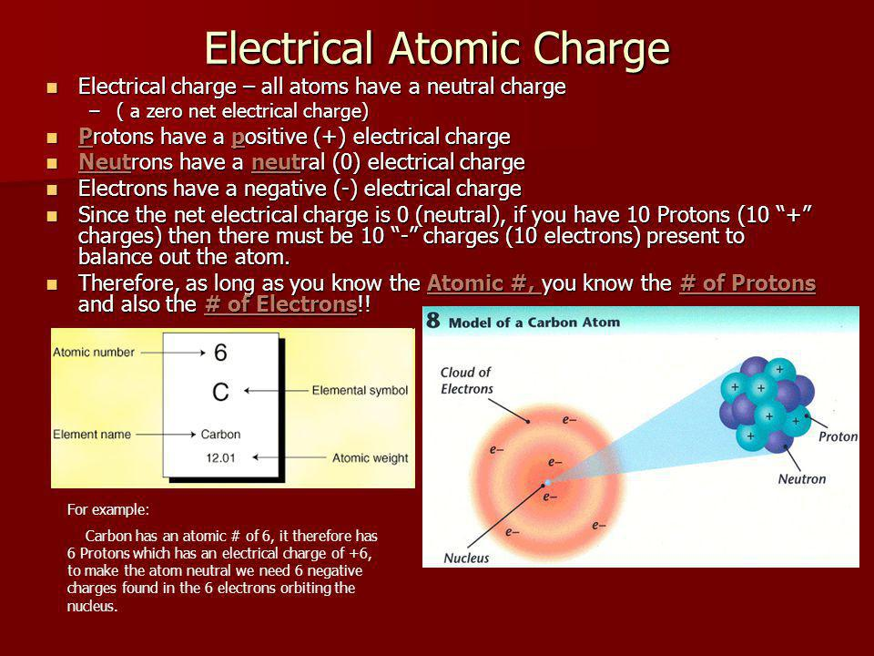 Electrical Atomic Charge Electrical charge – all atoms have a neutral charge Electrical charge – all atoms have a neutral charge –( a zero net electrical charge) Protons have a positive (+) electrical charge Protons have a positive (+) electrical charge Neutrons have a neutral (0) electrical charge Neutrons have a neutral (0) electrical charge Electrons have a negative (-) electrical charge Electrons have a negative (-) electrical charge Since the net electrical charge is 0 (neutral), if you have 10 Protons (10 + charges) then there must be 10 - charges (10 electrons) present to balance out the atom.