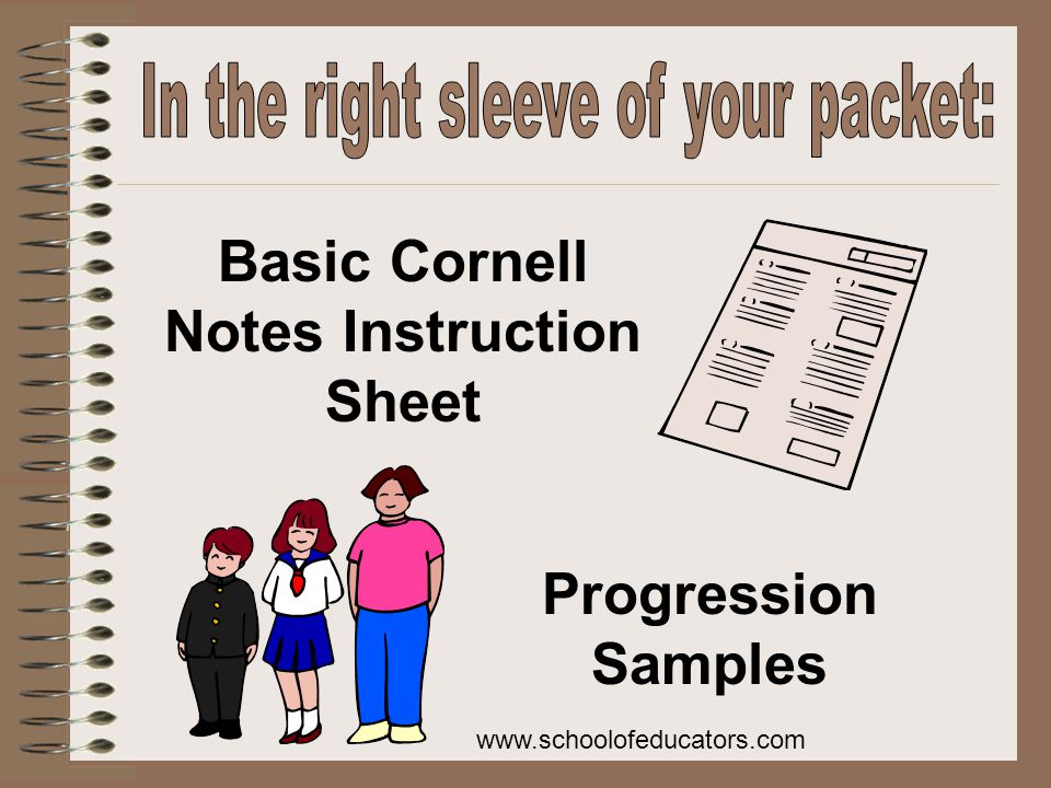 Basic Cornell Notes Instruction Sheet Progression Samples www.schoolofeducators.com