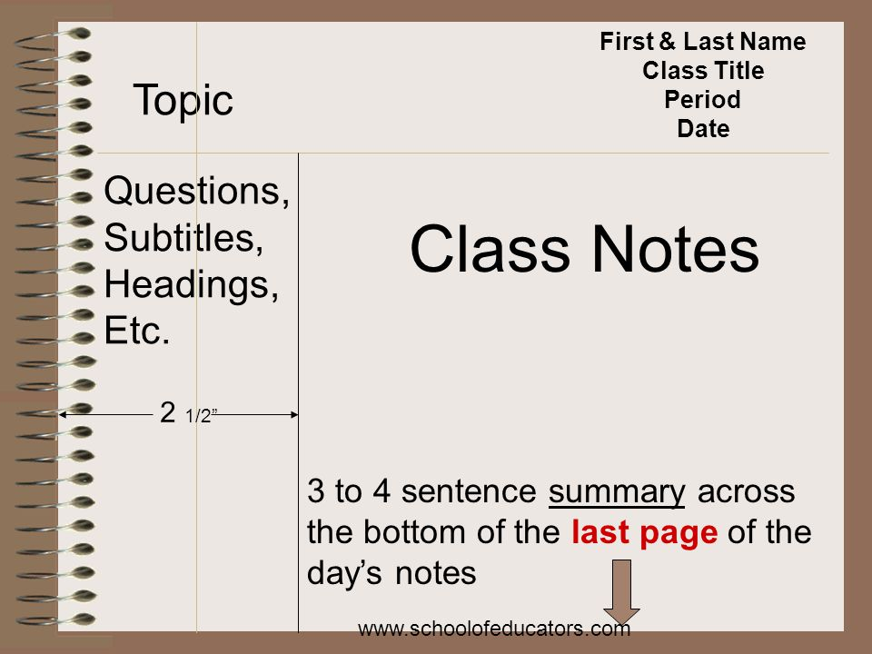 First & Last Name Class Title Period Date Topic Questions, Subtitles, Headings, Etc. Class Notes 2 1/2 3 to 4 sentence summary across the bottom of th