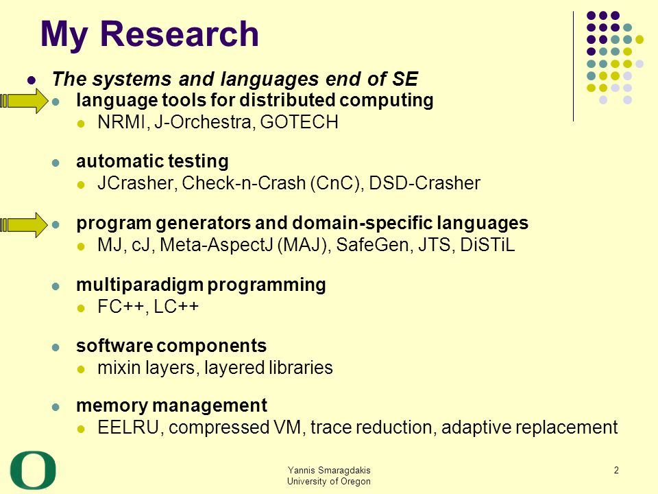 Yannis Smaragdakis University of Oregon 3 These Lectures NRMI: middleware offering a natural programming model for distributed computing solves a long standing, well-known open problem.