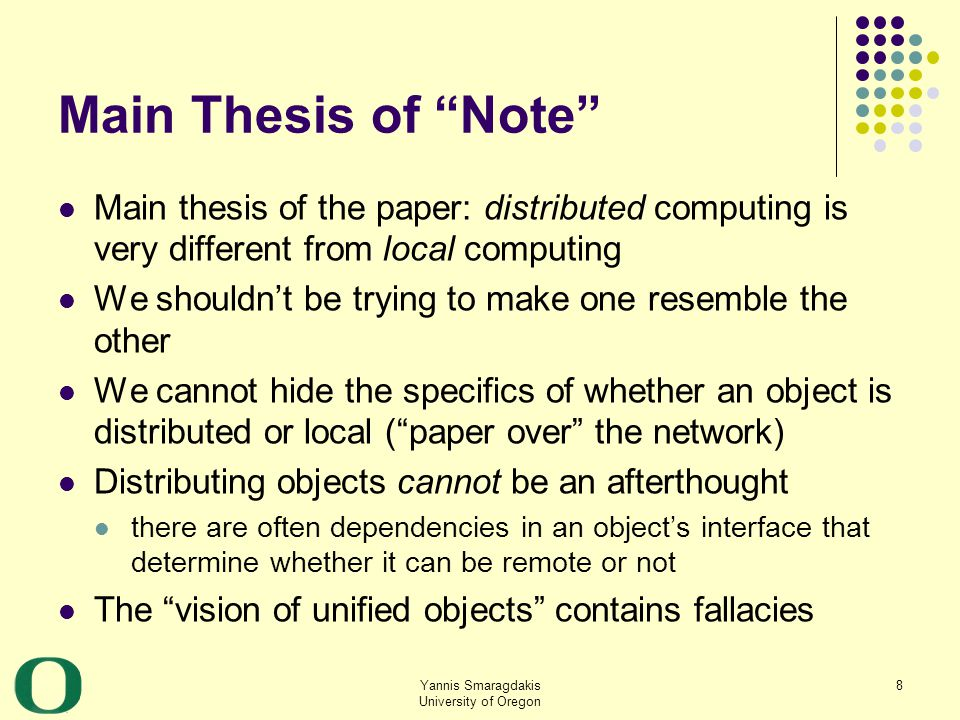 Yannis Smaragdakis University of Oregon 39 Algorithm (by example): execute remote procedure 4 18 09 tree 2 alias2 t 4 13 97 alias1 Network Client siteServer site temp