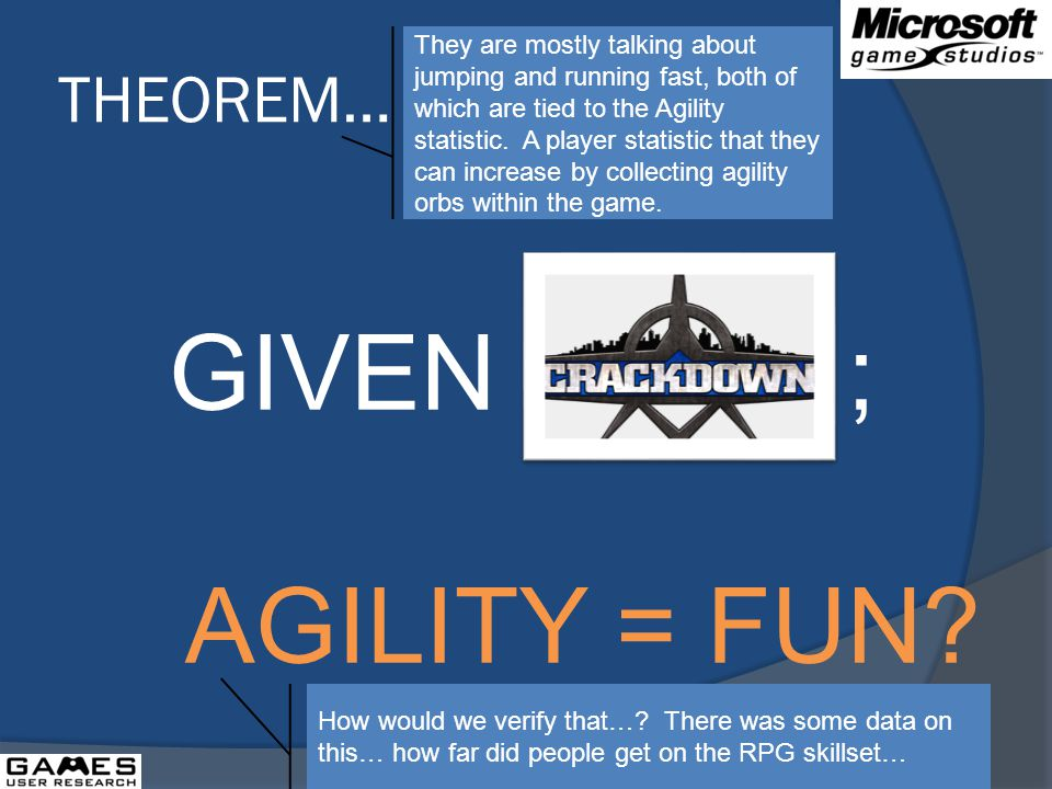 THEOREM… GIVEN ; AGILITY = FUN.
