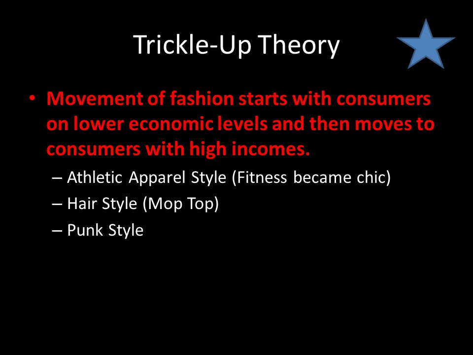 Trickle-Up Theory Movement of fashion starts with consumers on lower economic levels and then moves to consumers with high incomes. – Athletic Apparel