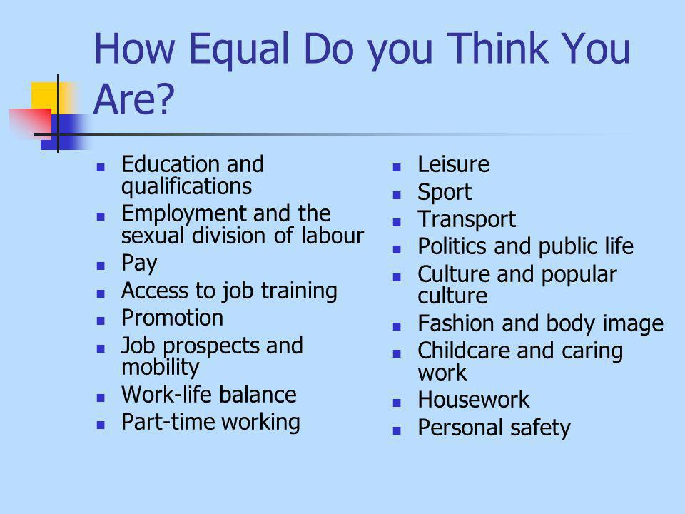 How Equal Do you Think You Are.
