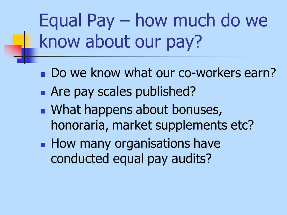Equal Pay – how much do we know about our pay. Do we know what our co-workers earn.