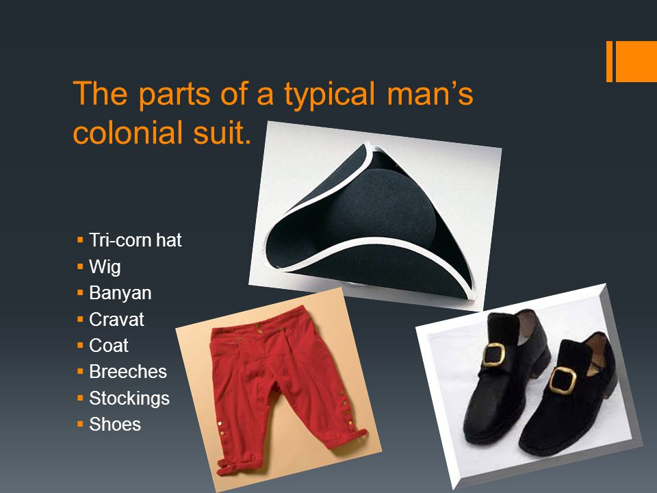 The parts of a typical mans colonial suit.