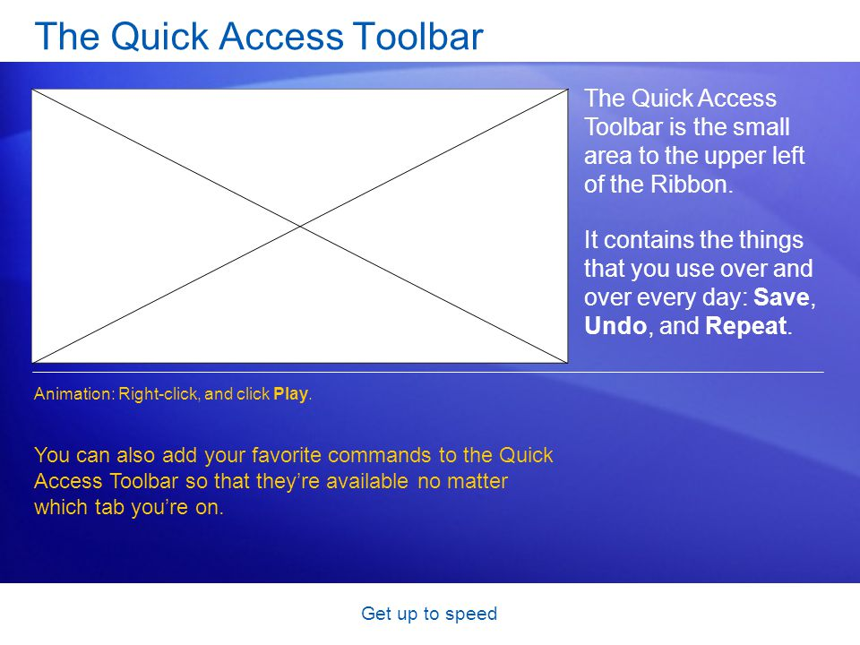 Get up to speed The Quick Access Toolbar The Quick Access Toolbar is the small area to the upper left of the Ribbon.
