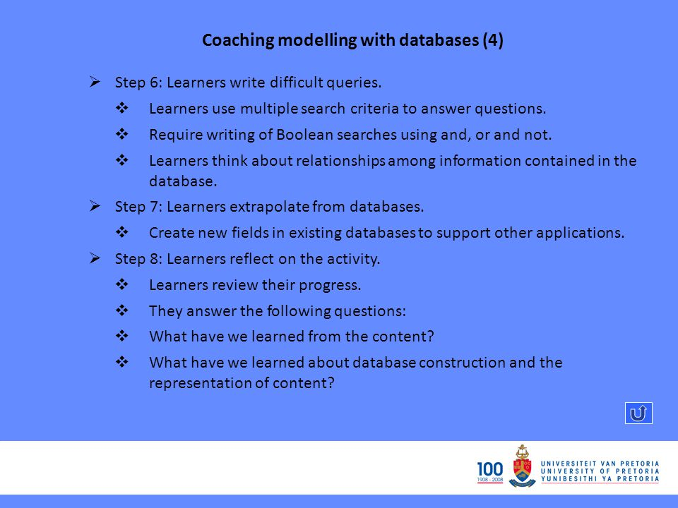 Coaching modelling with databases (4) Step 6: Learners write difficult queries.